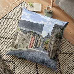Le Mans Medieval Streets - Floor Pillow