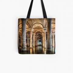 Sunken Palace or Basilica Cistern (Istanbul, Turkey) - All Over Print Tote Bag