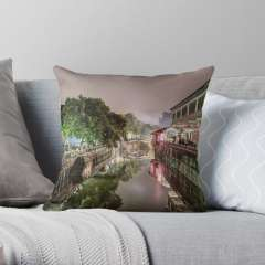 Nanxiang Ancient Town at Night (Shanghai, China) - Throw Pillow