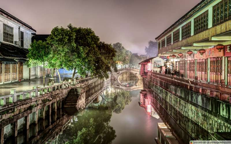 Nanxiang Ancient Town at Night (Shanghai, China) Free 4K HD Wallpaper